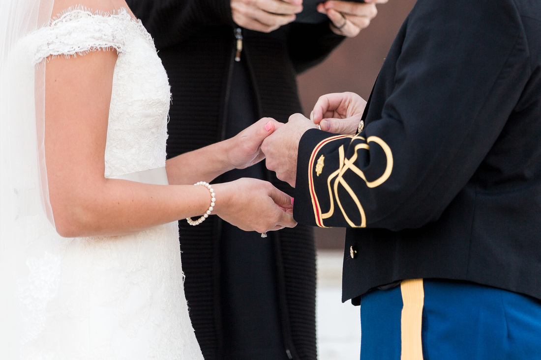 Wedding ceremony at The Obici House. Virginia Wedding Photographer