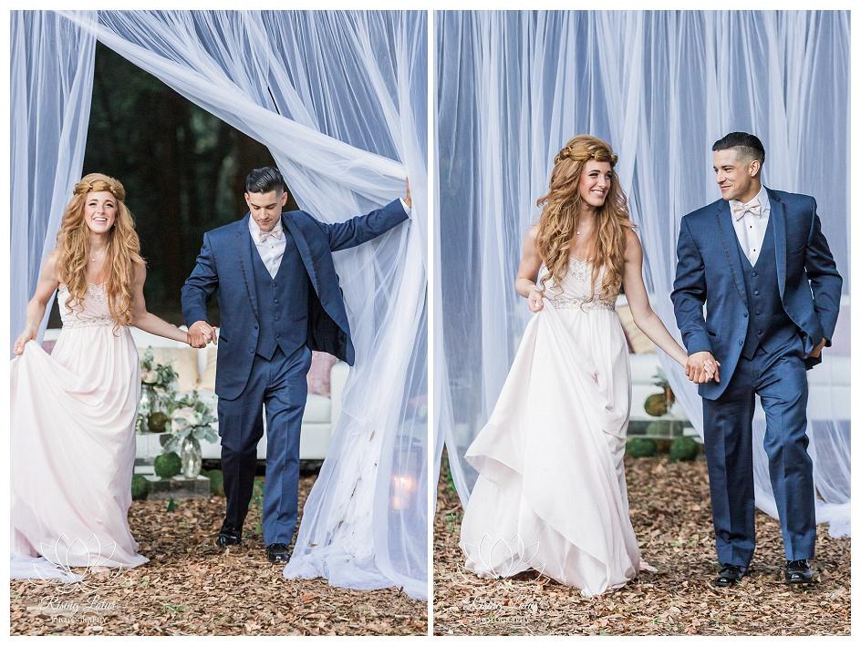 Couple's grand entrance for a styled wedding shoot at Casa Lantana in Brandon, Florida.