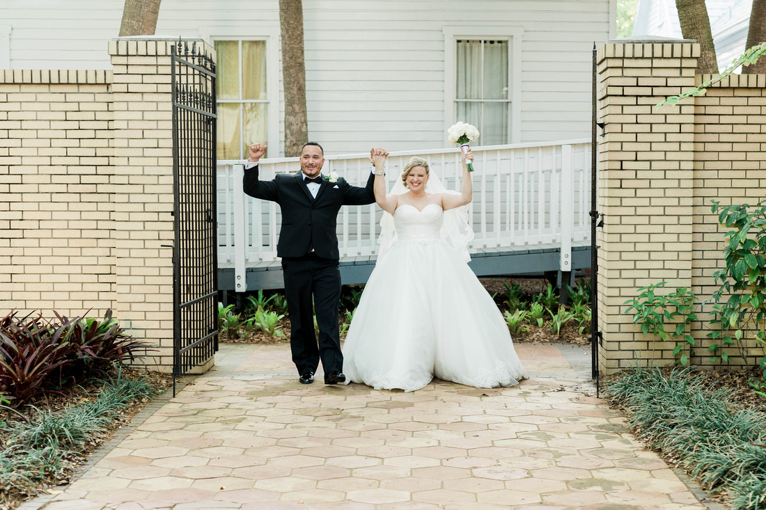 Ybor City Museum Gardens Wedding Reception. Bride and Groom. Newlyweds. Wedding Reception. Tampa Wedding Photographer.