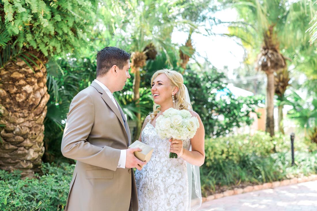 Destination wedding in Tampa. First look on wedding day.