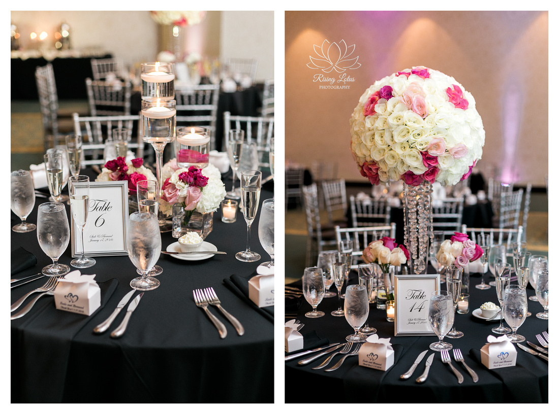 White and pink roses are part of the reception decor for a wedding at the Palmetto Club at Fish Hawk Ranch.