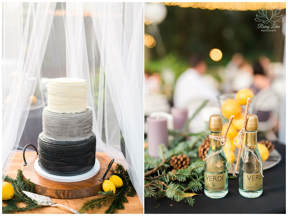 An ombre gray cake and reception details from a same sex wedding in Tampa, FL.