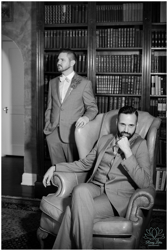 Grooms pose for portraits on their wedding day in Tampa, FL.