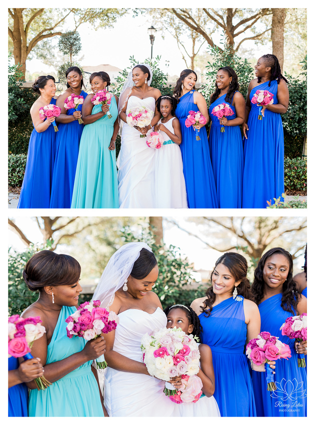 The bride and her bridesmaids pose and laugh while taking photos at the Palmetto Club in Lithia, FL.