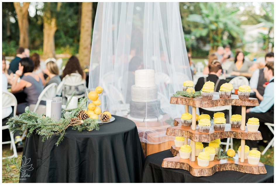 Yellow frosted cupcakes were part of the dessert station at a same sex wedding in Tampa, FL.
