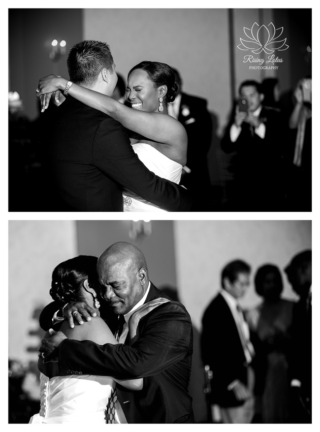 A bride dances with her groom and her father on her wedding day at the Palmetto Club in Lithia, FL.