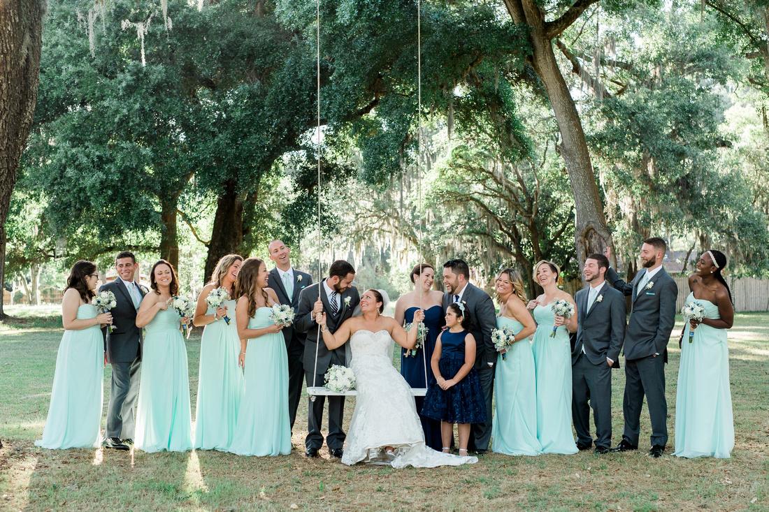 Bridal Party Photos at Casa Lantana by Tampa Wedding Photographer Rising Lotus. Mint and Navy wedding.