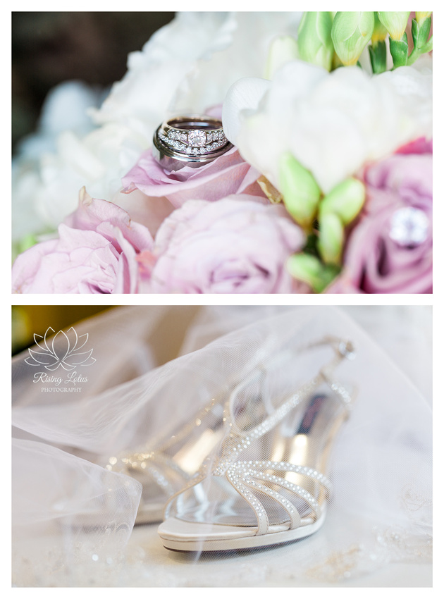 The bride's engagement and wedding rings were set atop her bouquet