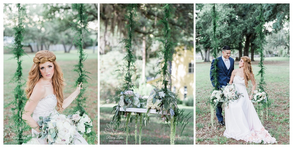 A swing decorated with flowers at Casa Lantana for a wedding shoot.