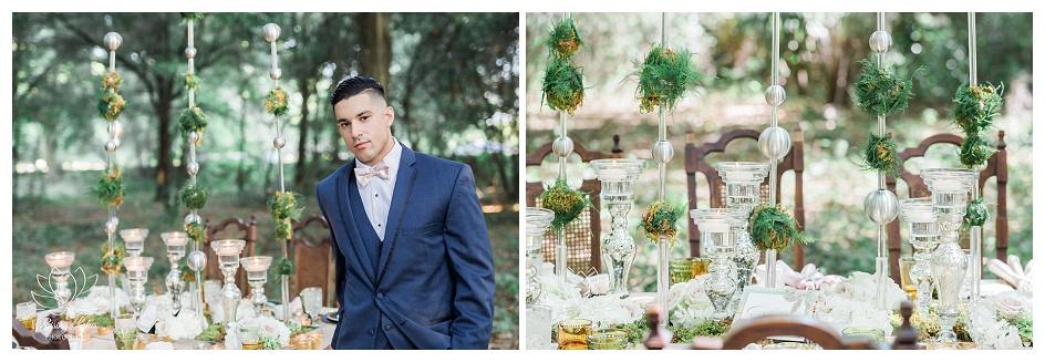 Wedding guest table setup and decorations at Casa Lantana.
