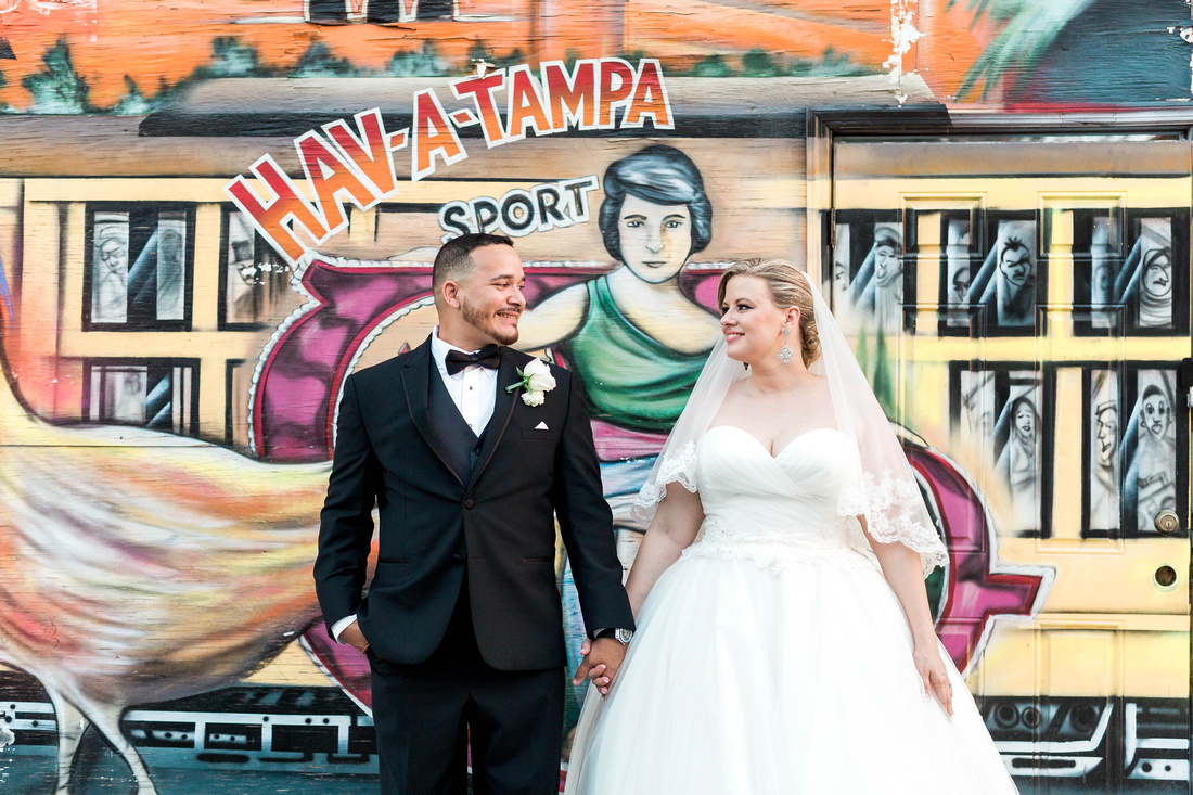 Tampa Wedding. Ybor City Museum Gardens. Bride and Groom. Newlyweds. Couple's Portraits.