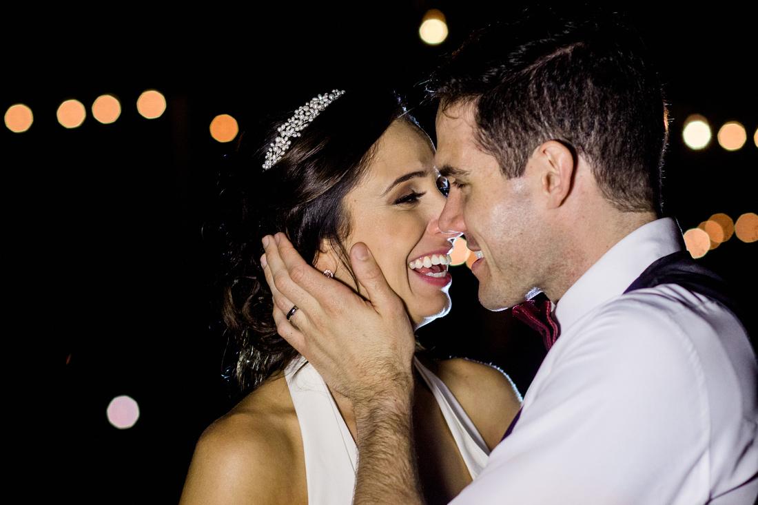 Night time newlywed photos at Sarasota wedding venue, Powel Crosley Estate. Rising Lotus Photography, Sarasota wedding photographer