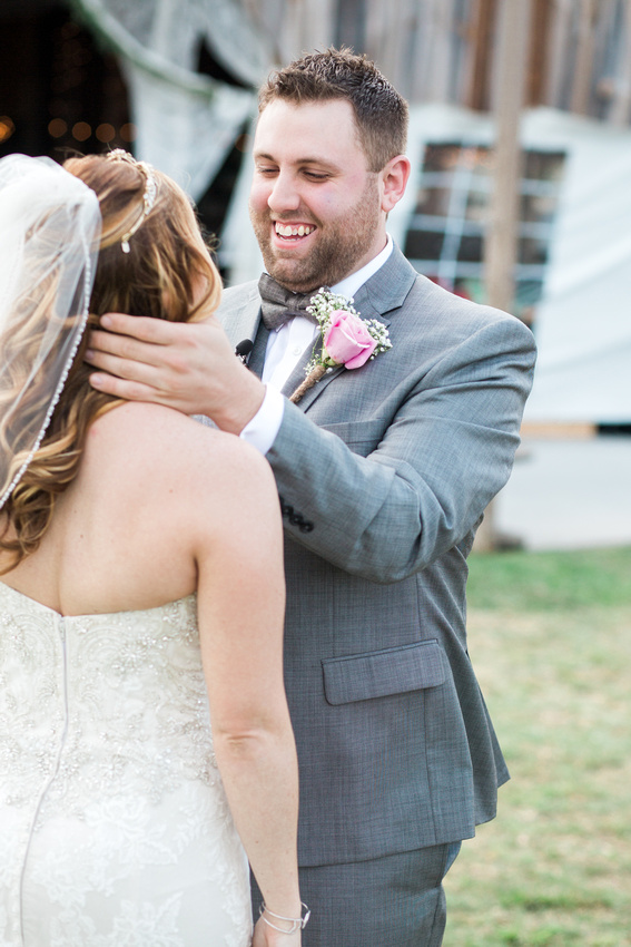 Rustic, chic blush/pink wedding at wishing well barn. First look photos.