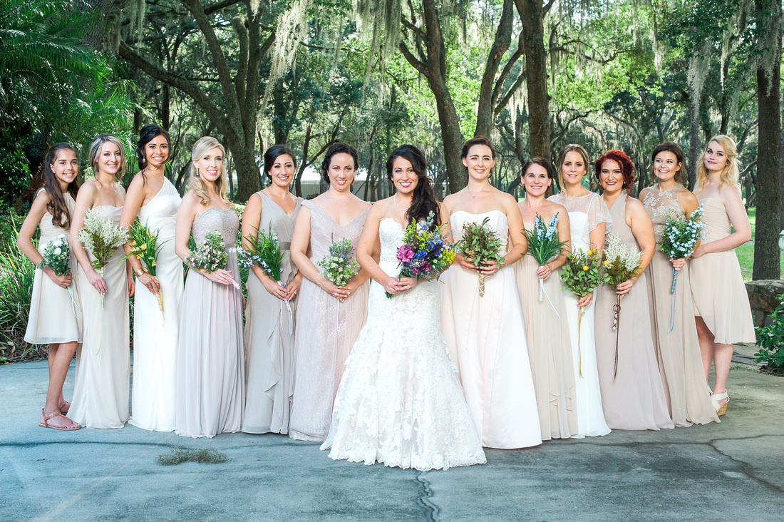 Tampa Wedding Venue, The Lange Farm. Bridal Party Photos. Bridesmaids and Groomsmen.