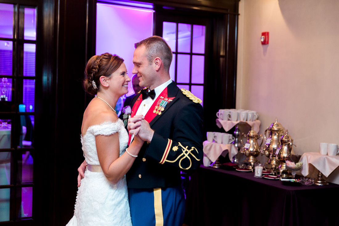 Wedding reception at The Obici House, purple and gold wedding decorations. Virginia Wedding Photographer