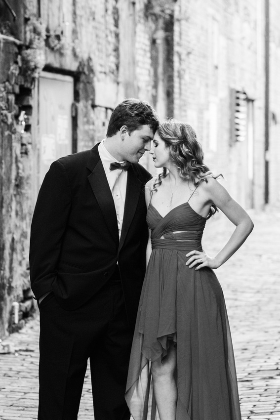 This engaged couple chose a glamorous look for their engagement session in Ybor City, FL.