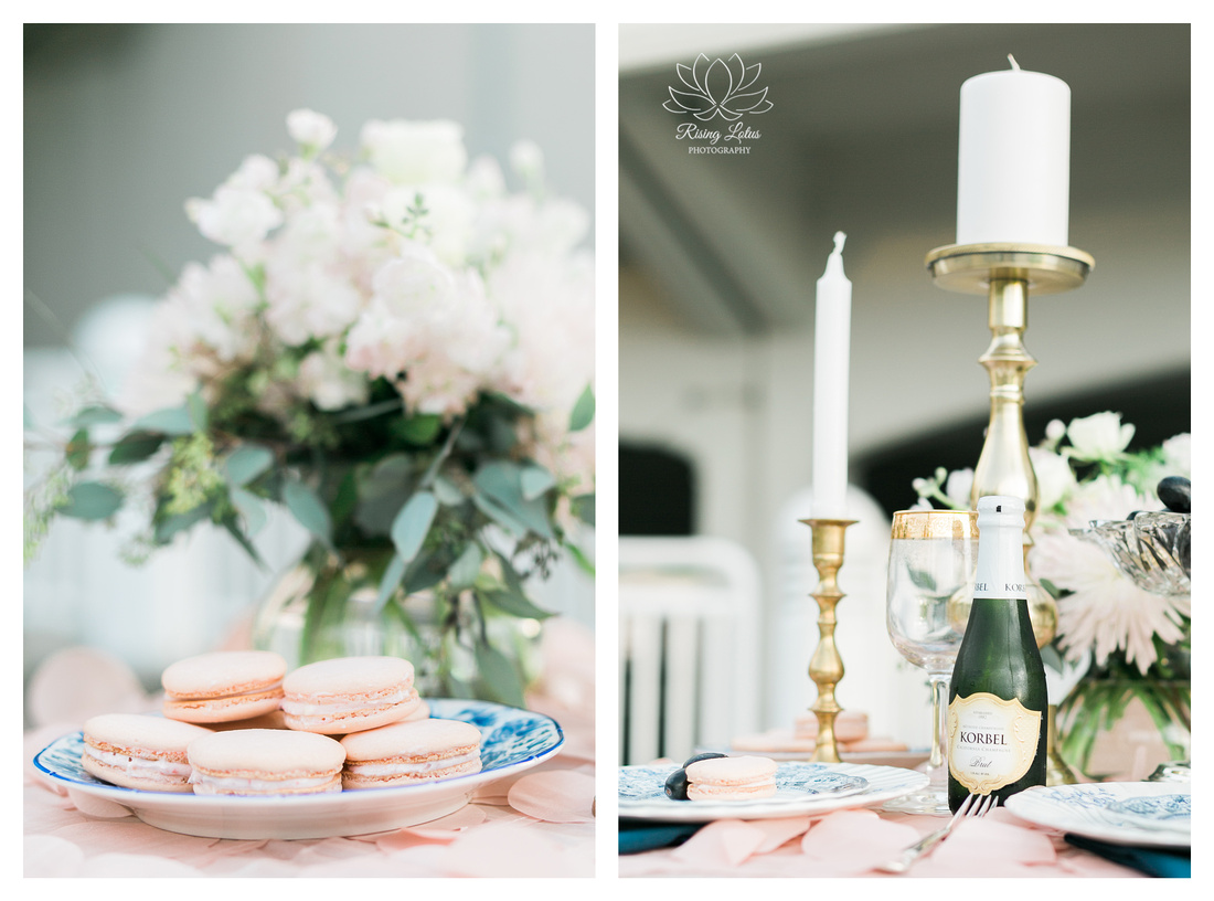 Engaged couple were treat to this dessert table during their session with Rising Lotus Photography