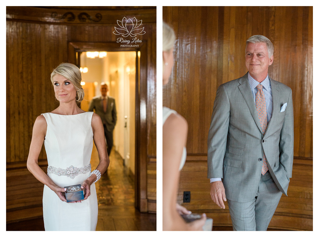 An emotional moment when the father of the bride sees her for the first time.