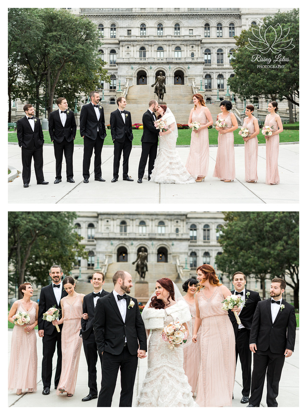 Wedding party gathered at Albany's Capitol building for portraits