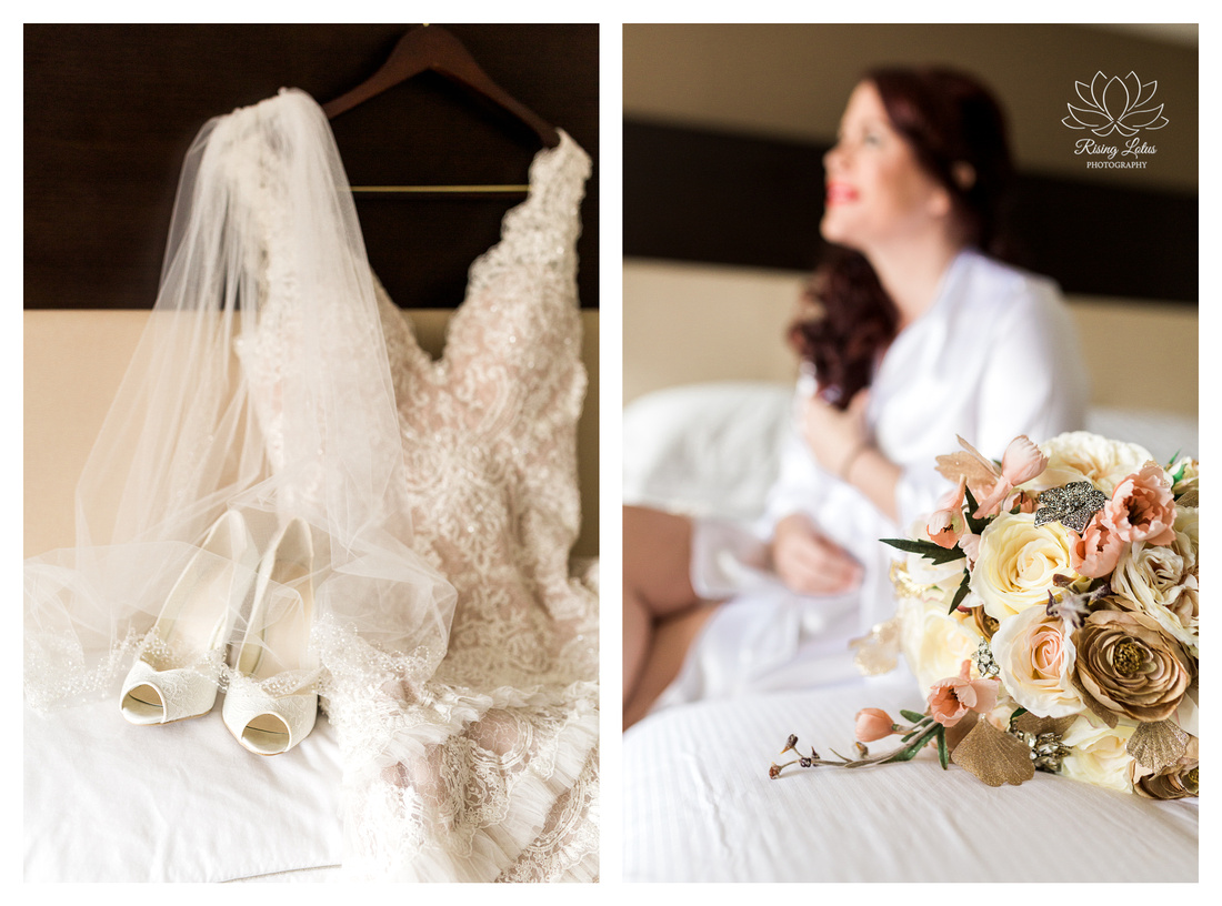 Photo of bridal gown and bouquet taken at the Hilton in downtown Albany, New York