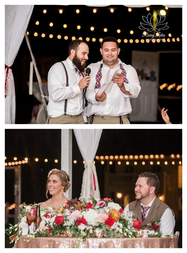 Photo of best man giving a speech during wedding reception at Casa Lantana.