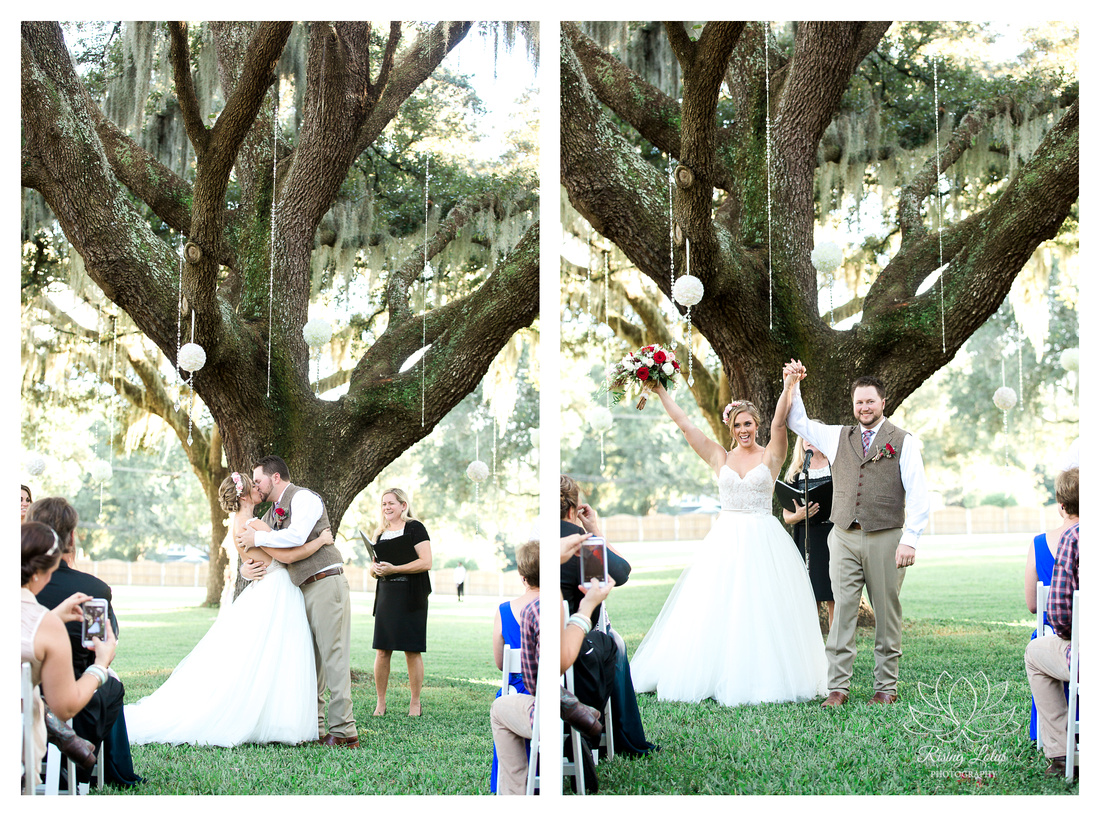 Photo of newlyweds kissing after their outdoor wedding at Casa Lantana.