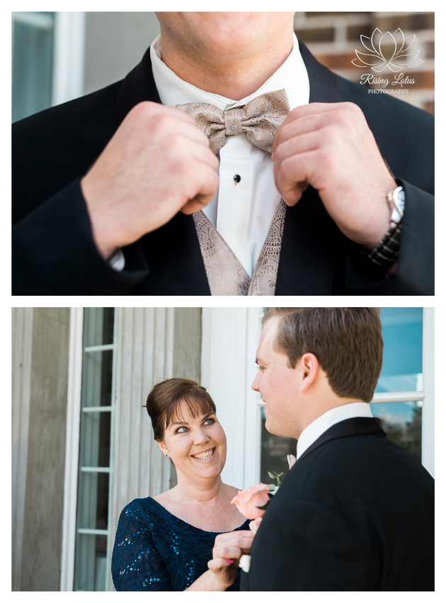 Groom poses with his mom for pictures.