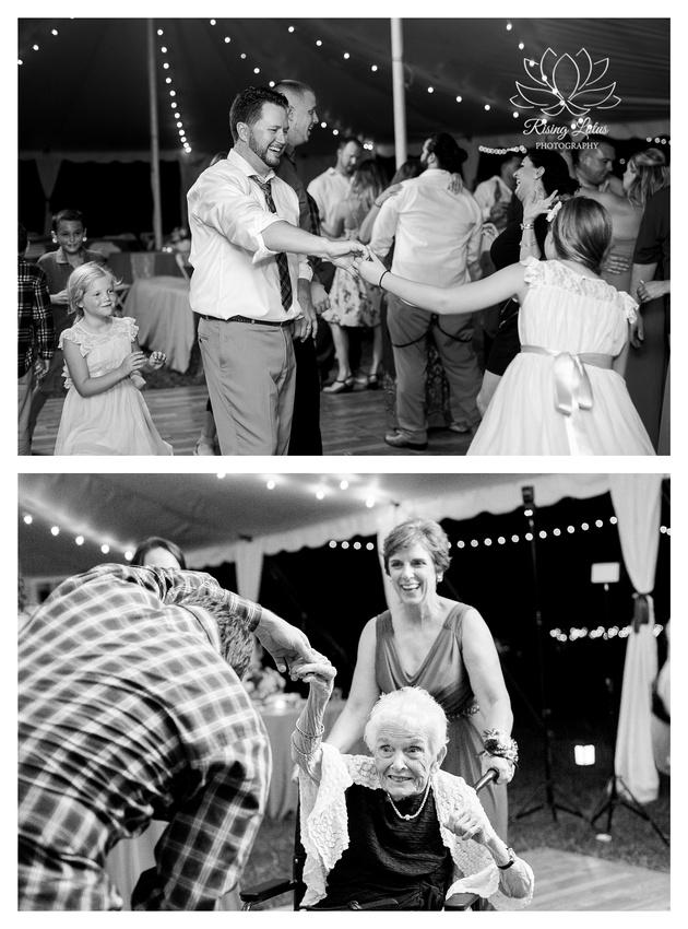 Photo of wedding guests dancing during a country chic wedding at Casa Lantana.