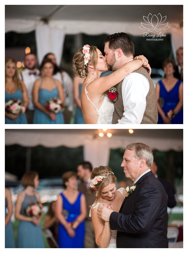 Photo of bride dancing with her groom and her dad at Casa Lantana.