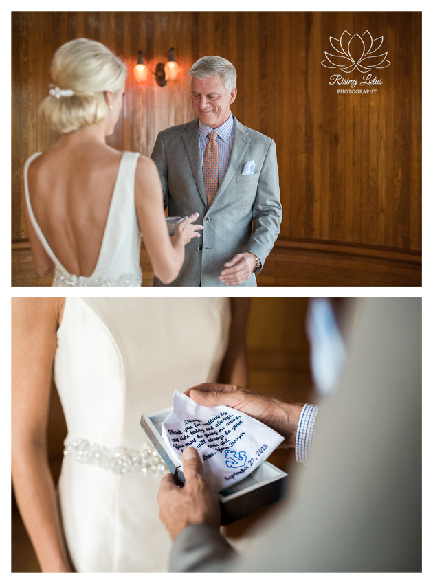 Alison crafted a handkerchief keepsake for her dad on her wedding day.