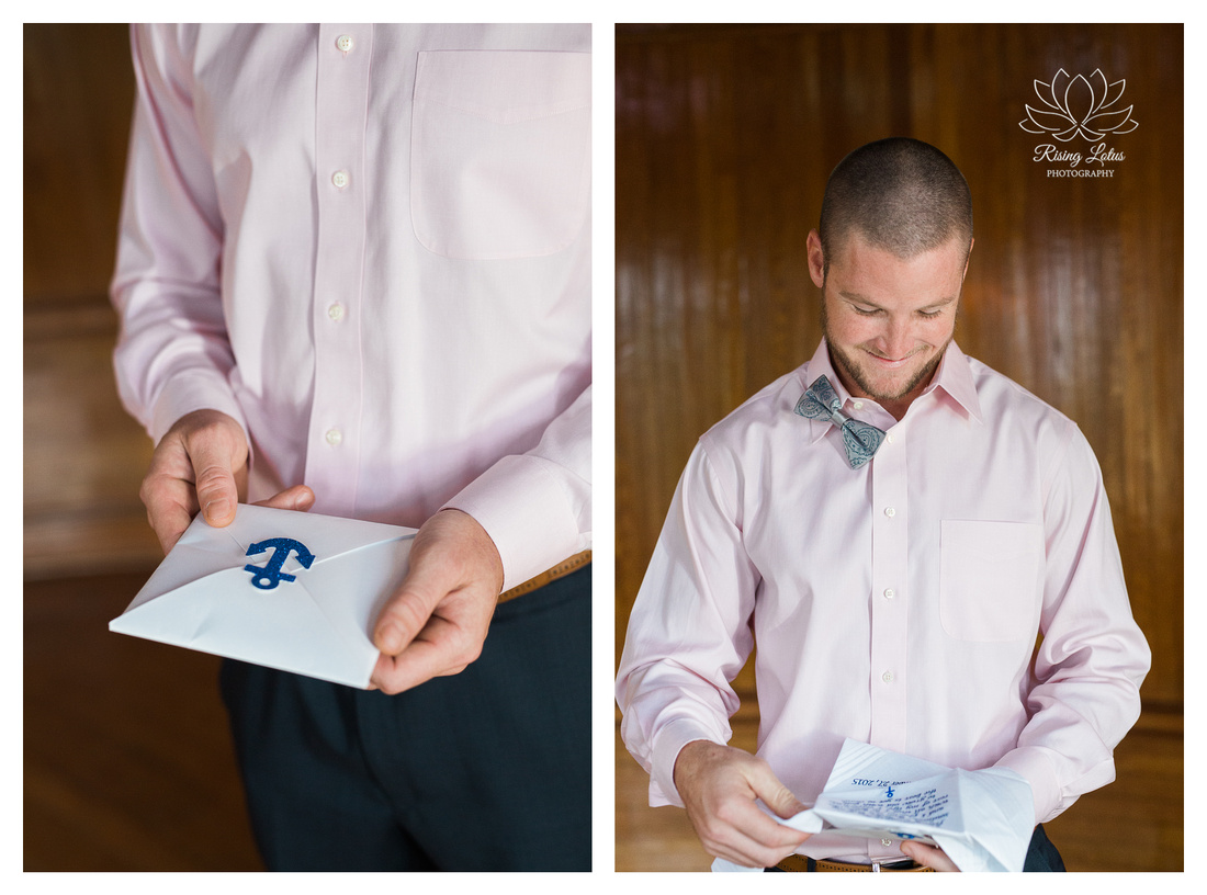 Dom opens a gift from his bride before his wedding at the Powel Crosley Estate.