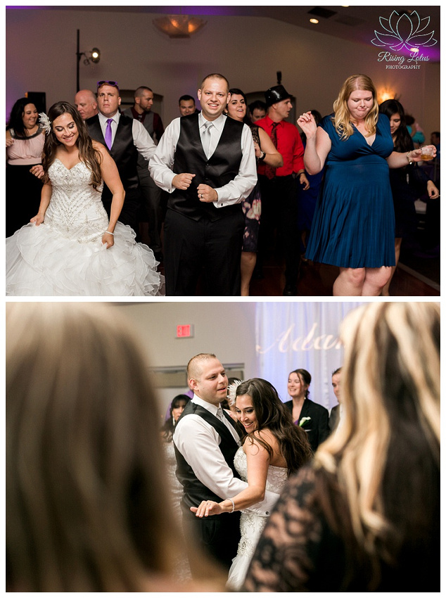 The bride and groom dance the night away with their guests at the Royal Crest Room.