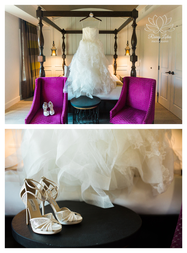 Detail photo of bride's Vera Wang dress and her Jimmy Choos.