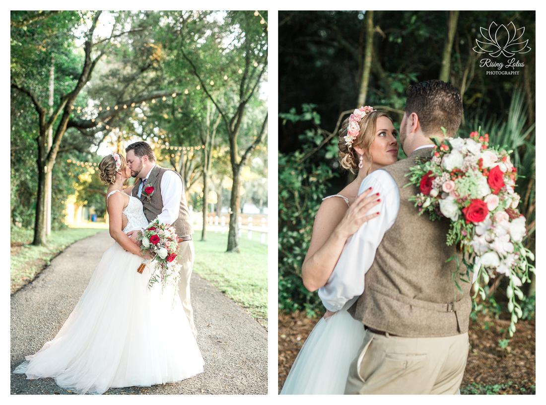Photo of newlyweds near the private driveway at Casa Lantana.