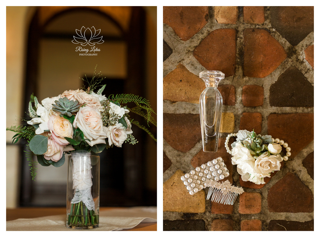 A photo of the bride's accessories and her bouquet which consisted of blush roses, gardenias, ranunculas and succulents.