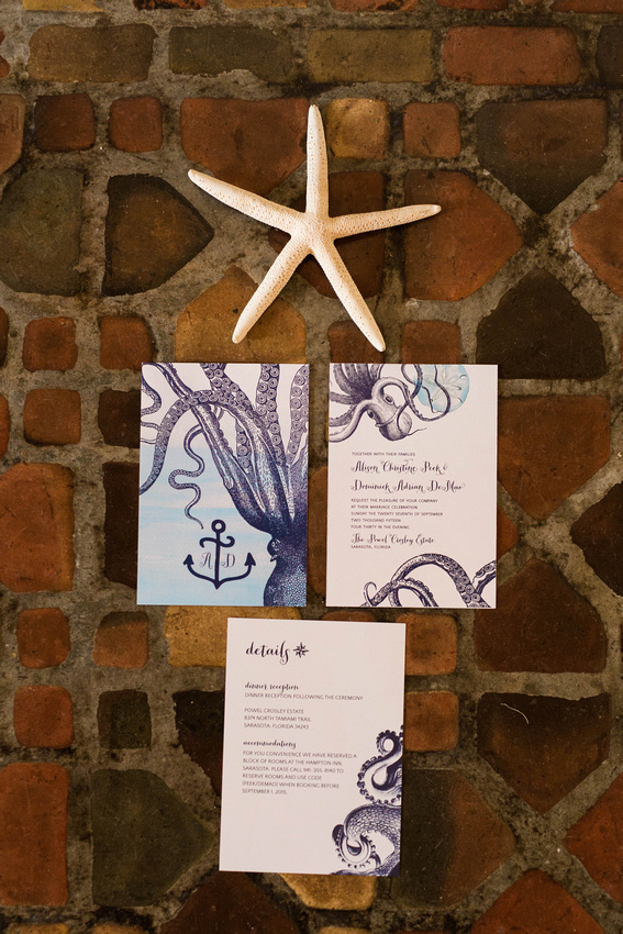 Nautical themed wedding invitation papergoods for a ceremony held at the Powel Crosley Estate.