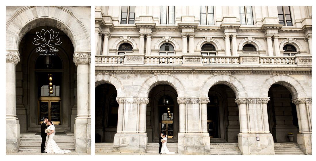 Bride and groom embrace outside Albany's capitol building.