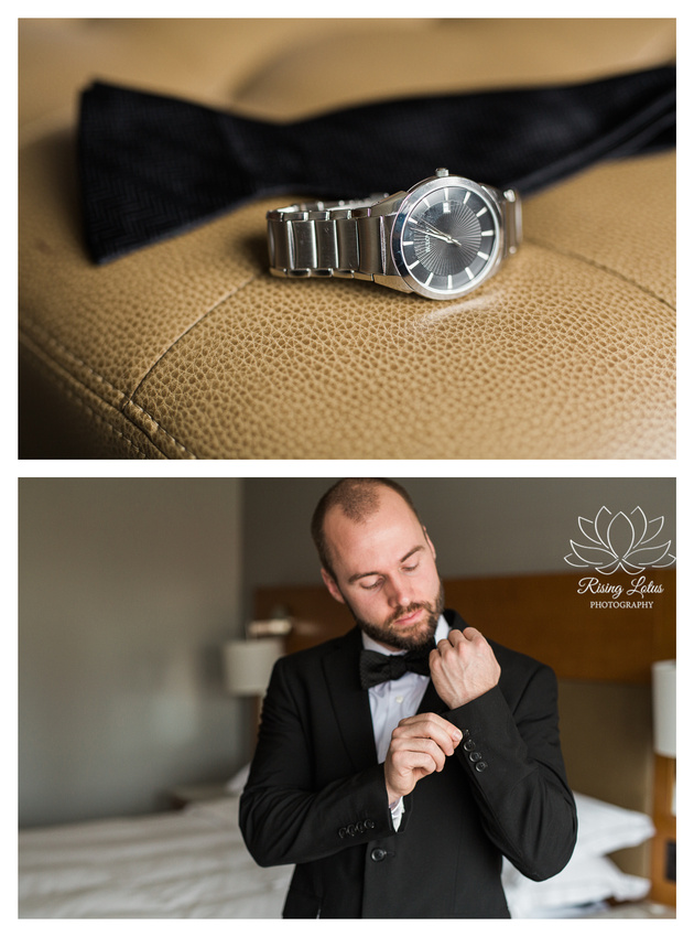 Groom adjusting his jacket and getting ready prior to his wedding vow renewal.