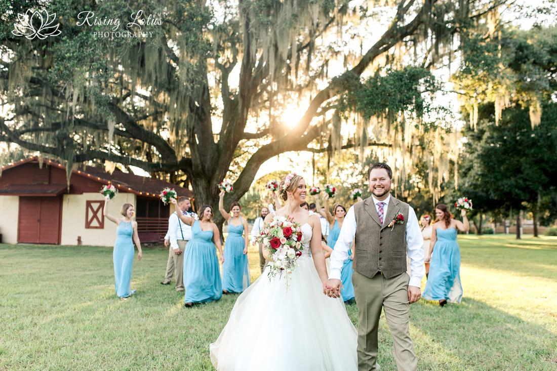 Photo of wedding party walking the grounds at Casa Lantana.