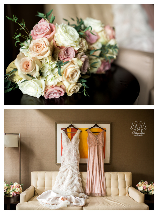 A bouquet of pink and white roses for the bridesmaids photographed at the Hilton hotel in downtown Albany.