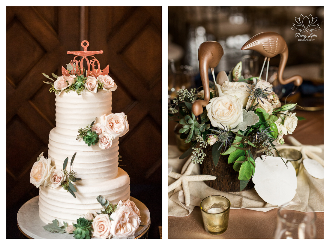 Wedding details followed a blush color palette with nautical accents and bronzed flamingos.