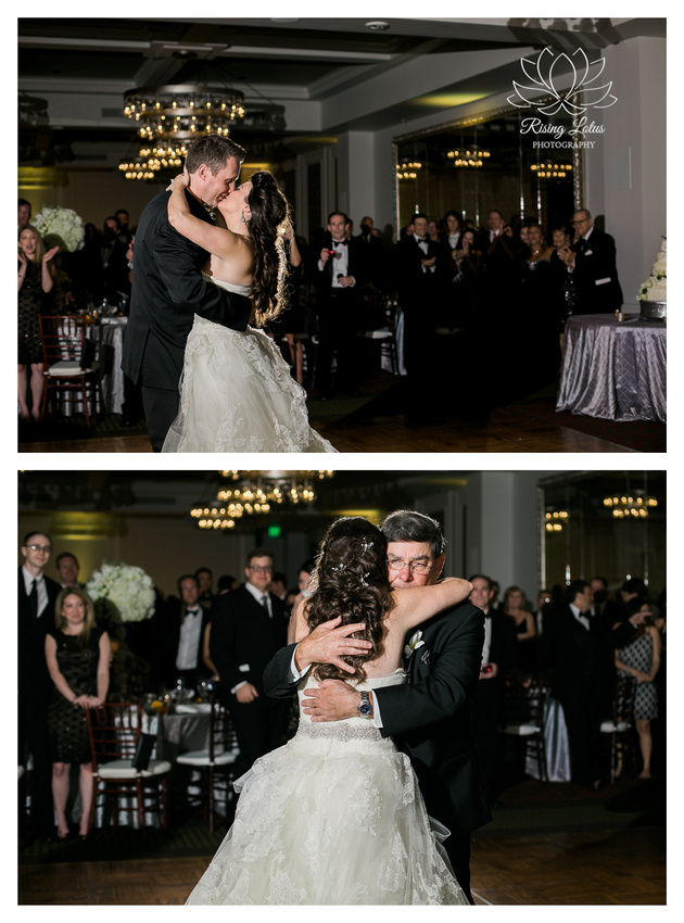 Newlyweds share a first dance at their Birchwood Hotel wedding reception.