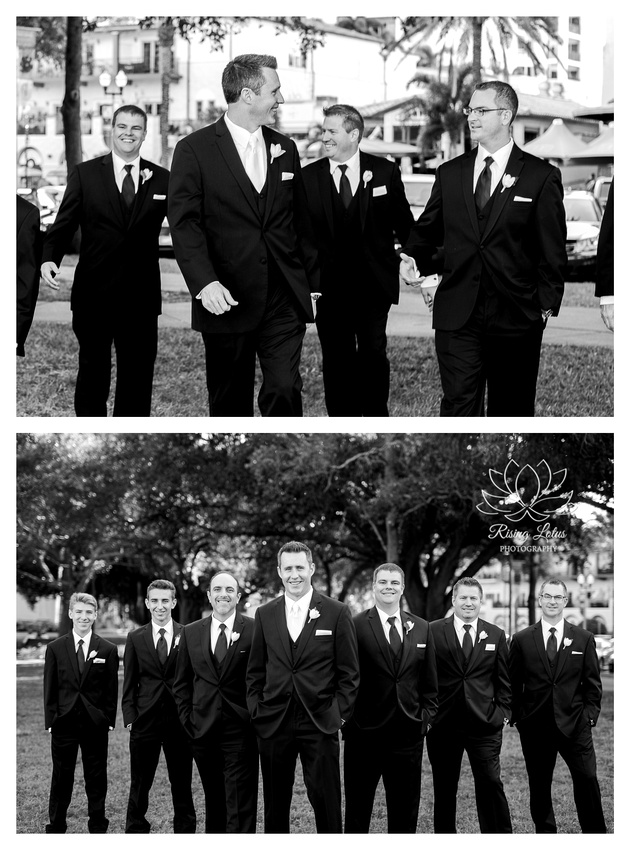 Groom and his groomsmen pose for photos in Straub park prior to the wedding ceremony.
