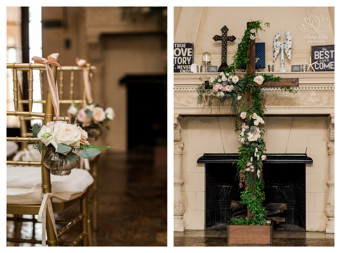 Ceremony details for this Powel Crosely wedding included a flower draped cross.