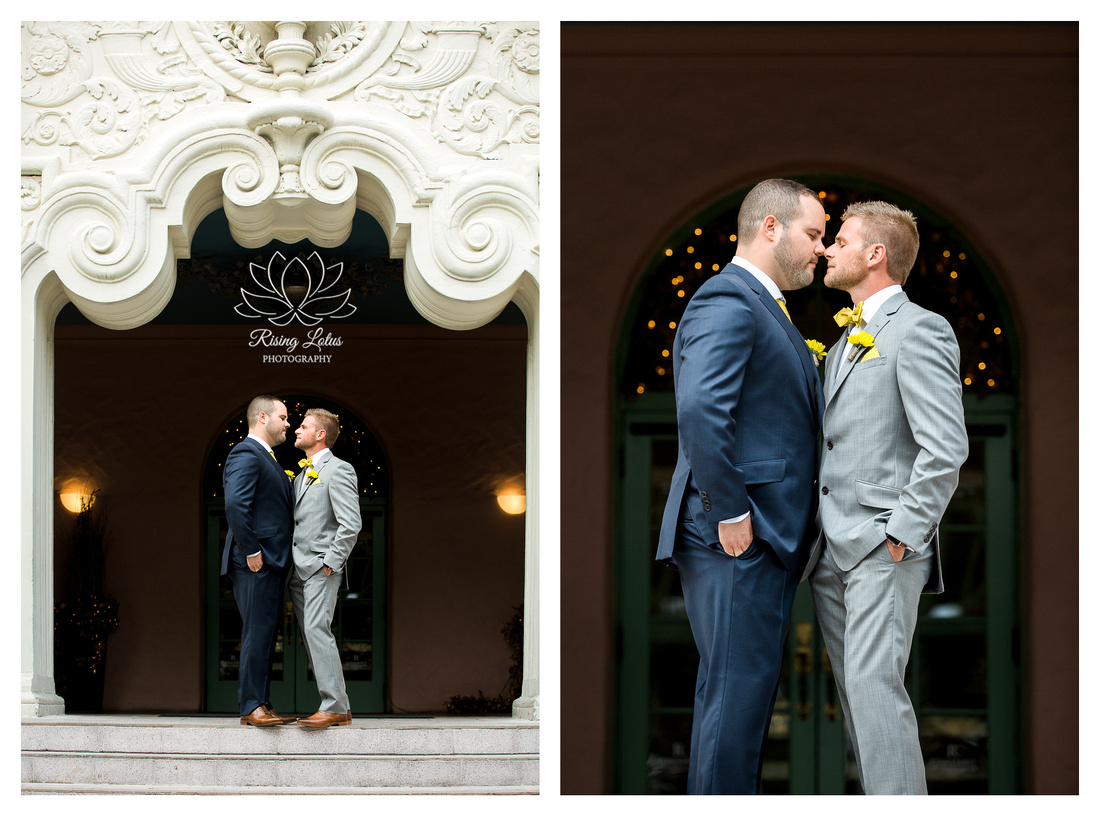 Grooms pose in front of the Vinoy Hotel lobby before their wedding on a yacht.