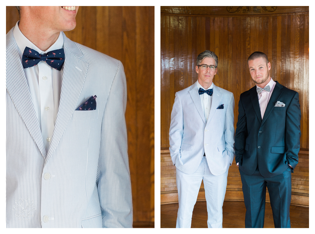 Groomsmen at the Powel Crosley Estate wedding wore seersucker suits and sported bow ties with flamingo accents
