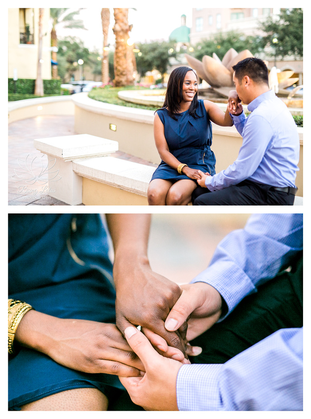 Engaged couple hold hands during engagement session in St. Pete.