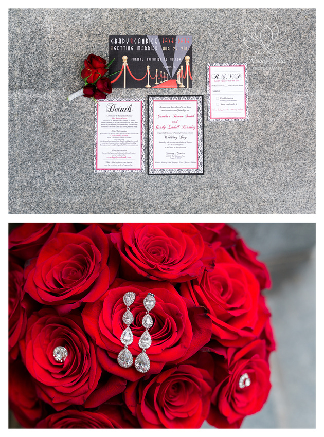 Photo of a Hollywood themed wedding invitation suite taken by Rising Lotus Photography.