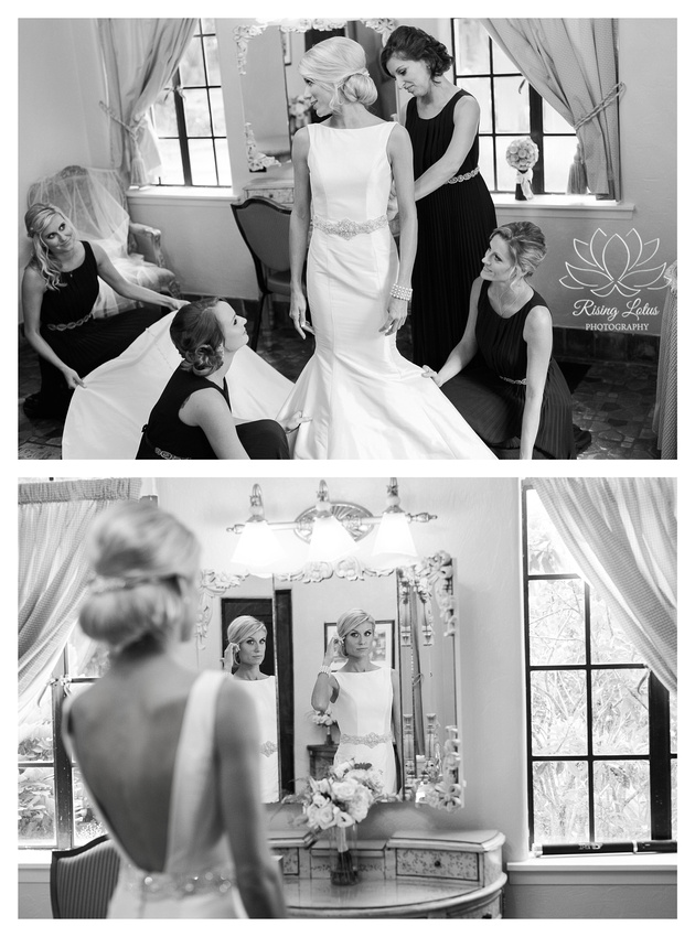 Alison gets help from her bridesmaids before her wedding at the Powel Crosley Estate.
