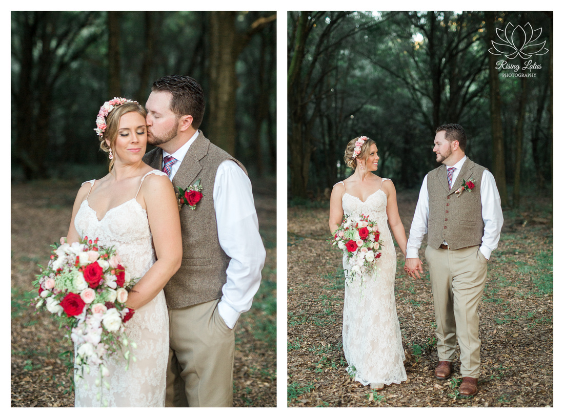 Photo of newlyweds taking a stroll in the woods at Casa Lantana.